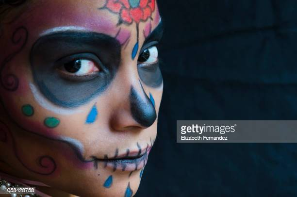 sugar skull beauty - sugar skull stock photos and pictures
