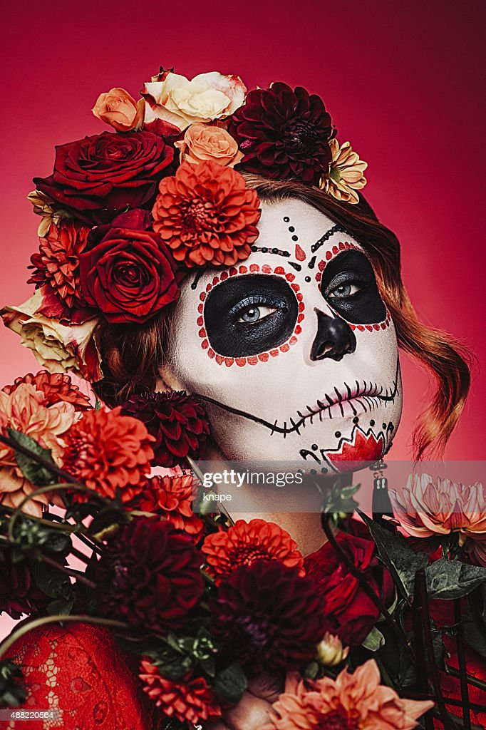Sugar skull creative make up for halloween : Stock Photo