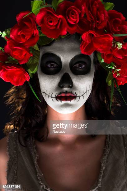 sugar skull makeup - sugar skull stock photos and pictures