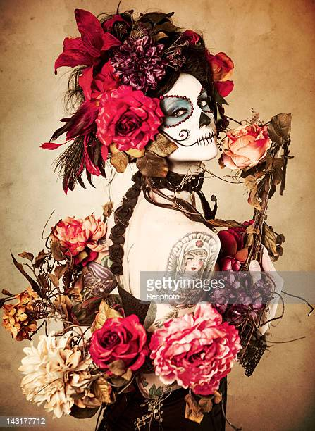 sugar skull series: día de los muertos - sugar skull stock photos and pictures