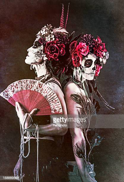 sugar skull series: gorgeous women - sugar skull stock photos and pictures