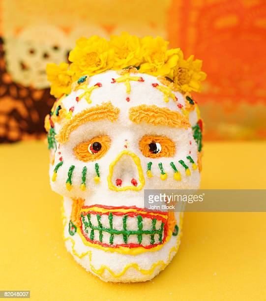 Sugar skull with marigolds