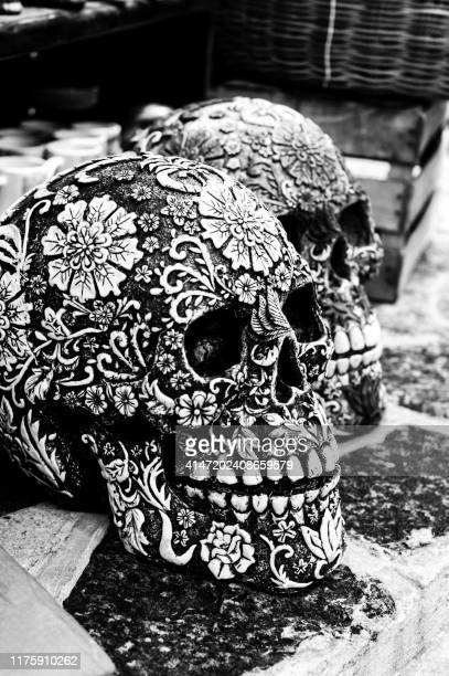 sugar skulls in cozumel mexico - sugar skull stock photos and pictures