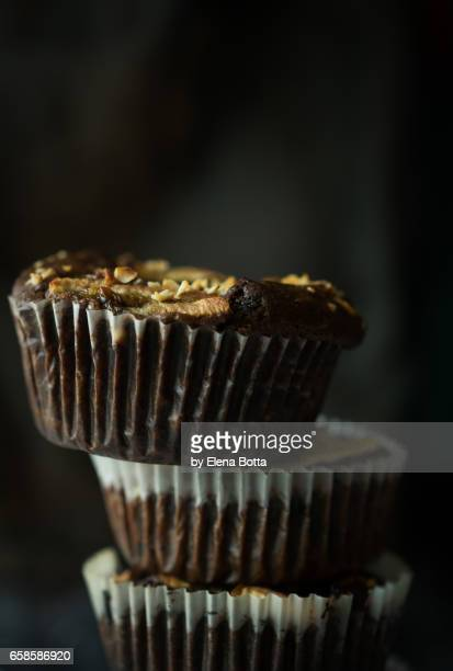 Sugarfree chocolate banana muffins, closeup
