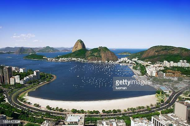 sugarloaf and botafogo beach in rio - botafogo stock photos and pictures