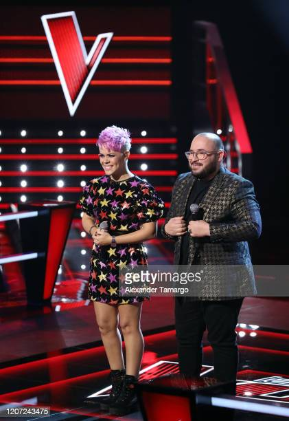 Sugeily Cardona and Jose Class are seen performing on stage during Telemundo's La Voz Batallas Round 2 at Cisneros Studios on March 15 2020 in Miami...