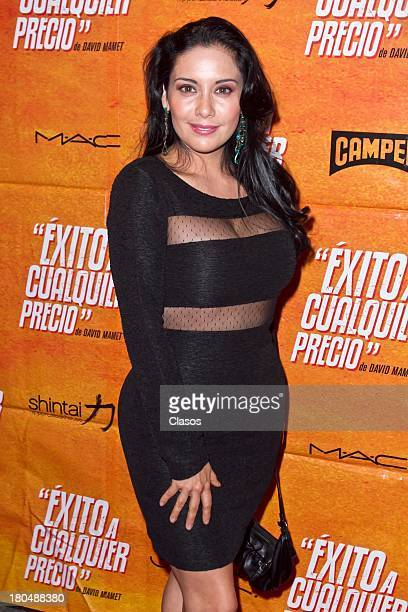 Sugey Abrego poses during the Red Carpet for the Premiere of the theatre play Exito a Cualquier Precio at Ignacio Lopez Tarso Theatre on September 12...