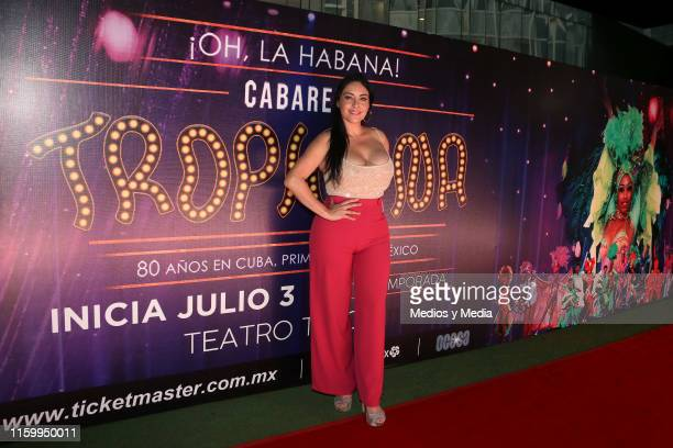 Sugey Abrego poses for photos during a red carpet and previews of the show 'Tropicana' on July 3 2019 in Mexico City Mexico