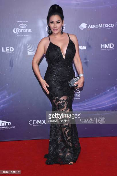 Sugey Ábrego poses for photos on the red carpet before the XVII Lunas del Auditorio award ceremony at Auditorio Nacional on October 31 2018 in Mexico...
