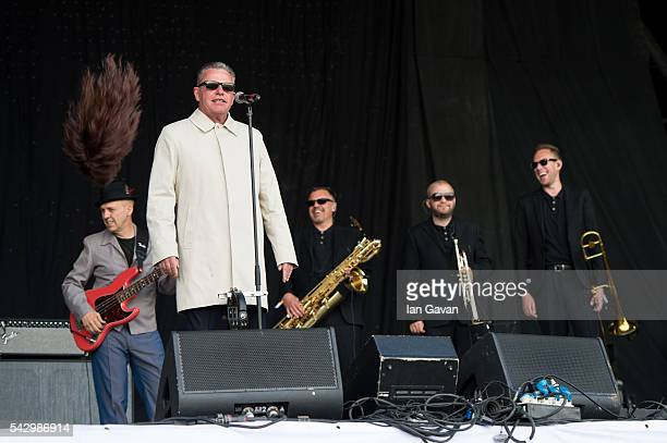 Suggs of 'Madness' performs on the Pyramid Stage on day 2 of the Glastonbury Festival at Worthy Farm, Pilton on June 25, 2016 in Glastonbury,...