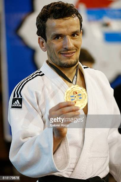 Sugoi Uriarte of Spain poses for a photo with the gold medal after competing in the Men's 66k category as part of Panamerican Open Buenos Aires 2016...