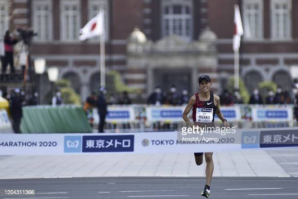 Suguru Osako crosses the finish line and wins the fourth place of the Tokyo Marathon 2020 in Elite Men category breaking the japanese record on March...