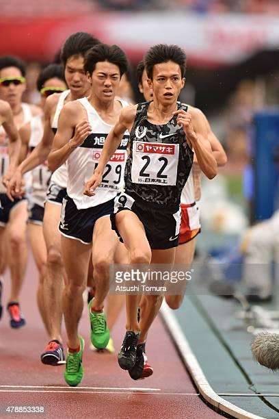 Suguru Osako of Japan competes in the mens 5000 meter final during the 99th Japan Athletics National Championships at Denka Big Swan Stadium on June...