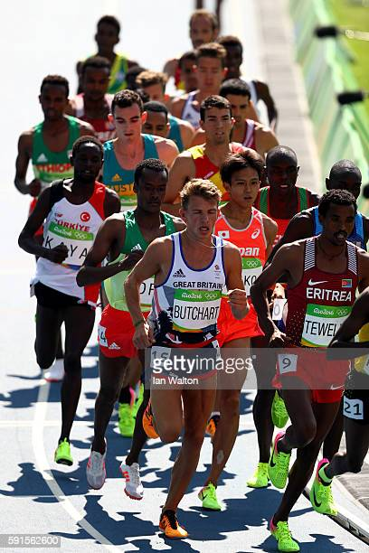 Suguru Osako of Japan competes in the Men's 5000m on Day 12 of the Rio 2016 Olympic Games at the Olympic Stadium on August 17 2016 in Rio de Janeiro...