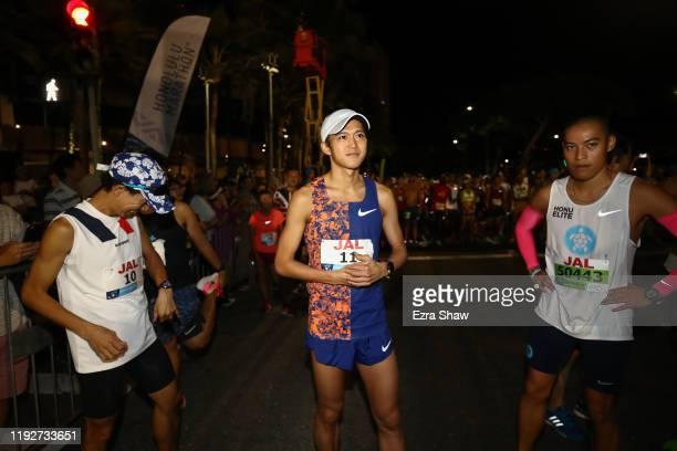 Suguru Osako of Japan gets ready at the starting line during the Honolulu Marathon 2019 on December 08 2019 in Honolulu Hawaii