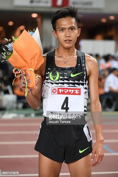 Suguru Osako of Japan poses after winning in the Men 10000m final during the 101st Japan National Championships at Yanmar Stadium Nagai on June 23...
