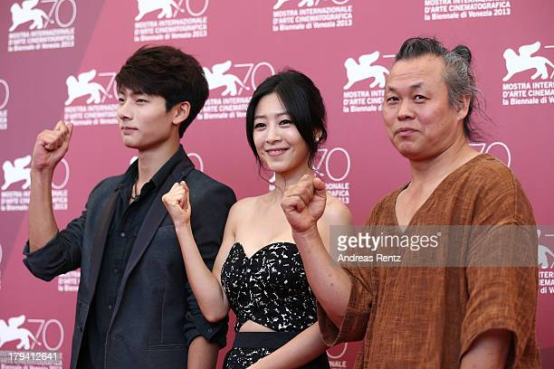 Suh Yeong Ju Lee EunWoo and Kim Kiduk attend 'Moebius' Photocall during the 70th Venice International Film Festival at Palazzo del Casino on...