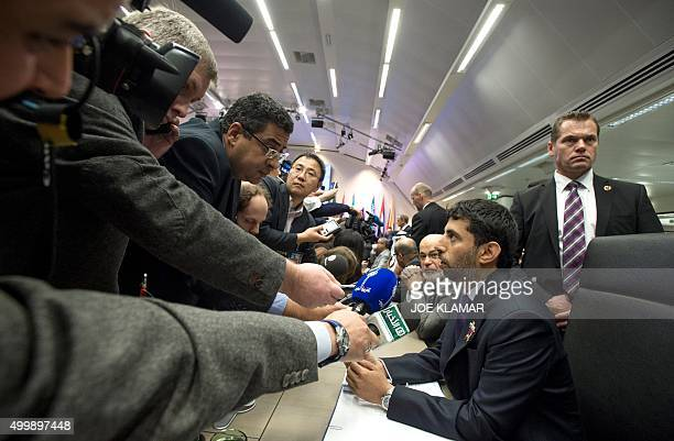 Suhail Mohamed Al Mazrouei Minister of Energy of the United Arab Emirates UAE speaks to journalists at the 168th Ordinary meeting of the Conference...