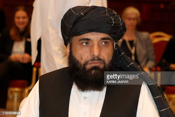 Suhail Shaheen spokesman for the Taliban in Qatar attends the Intra Afghan Dialogue talks in the Qatari capital Doha on July 7 2019 Dozens of...