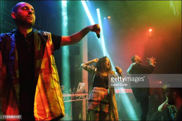 Suhell Nafar, Maysa Daw, Tamer Nafar of Palestinian hip-hop group DAM performing at the Jazz Cafe, Camden Town, London, UK on 2 March 2019.