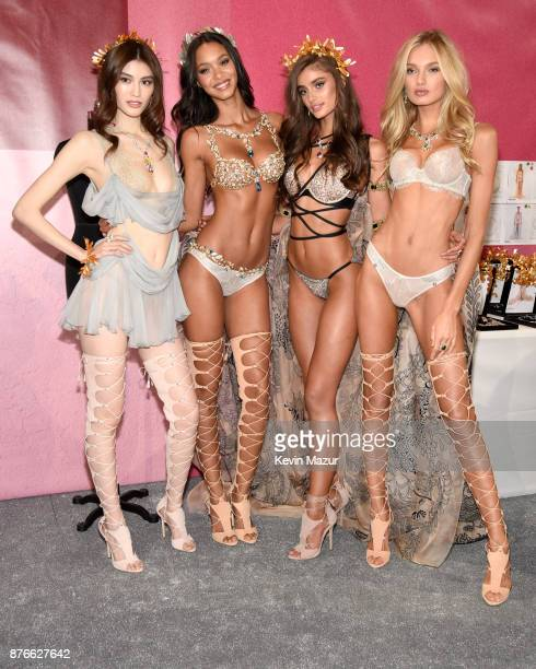 Sui He, Lais Ribeiro, Taylor Hill and Romee Strijd pose backstage during 2017 Victoria's Secret Fashion Show In Shanghai at Mercedes-Benz Arena on...