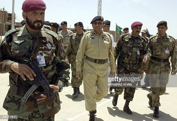 Pakistan President Pervez Musharraf arrives in the town of Sui 10 May 2007 where autonomyseeking insurgents launched their revolt three years ago by...