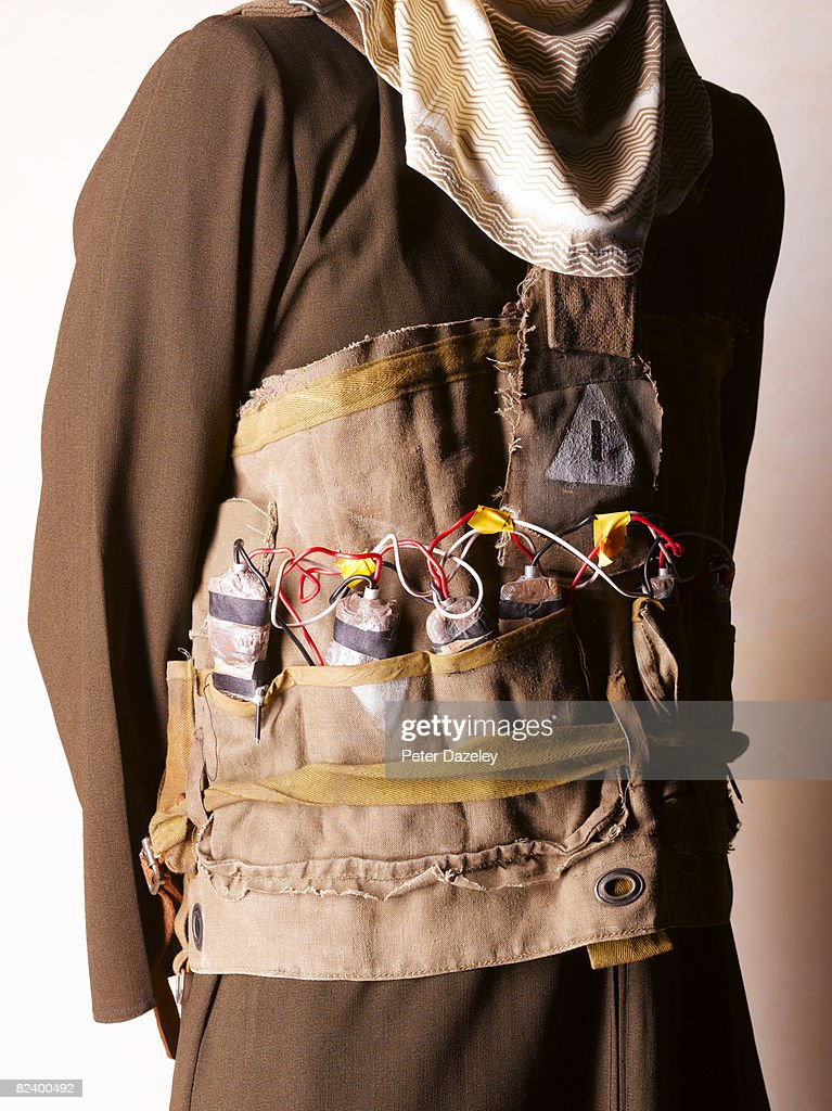 Suicide bomber with vest : Stock Photo