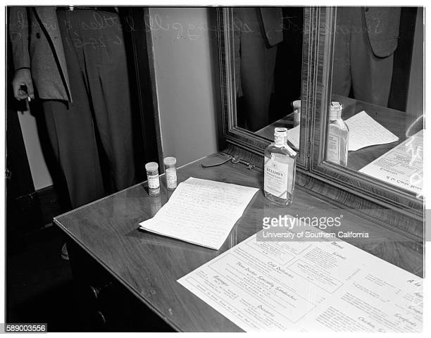 Suicide Dr Peake Detective Segeant WJ Reid Dr William M Peake two empty sleeping pill bottles empty whiskey botle and suicide note June 29 1951