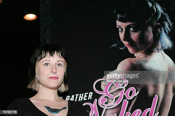 Suicide Girls founder Missy Suicide poses at the unveiling of the new Peta2 Anti fur ads at the Roxy nightclub on February 14 2008 in West Hollywood...