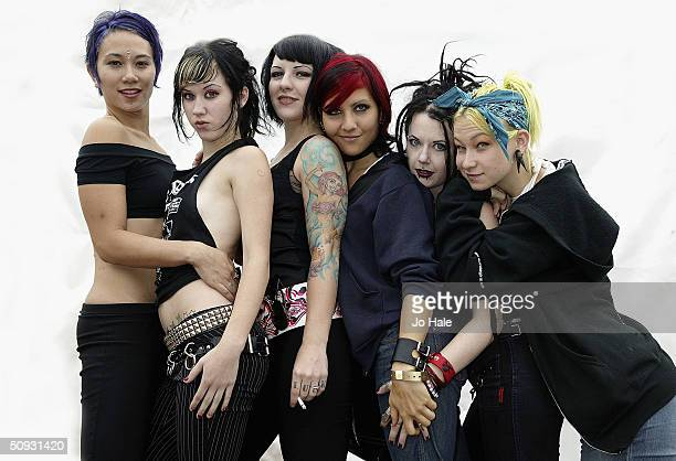 Suicide Girls pose backstage at day one of the Download Festival at Donington Park on June 5 2004 in Leicestershire England The rock festival...