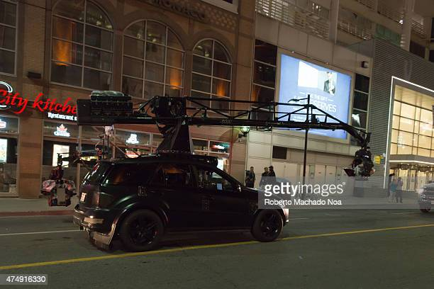 STREET TORONTO ONTARIO CANADA Suicide Squad movie filming or shooting in downtown Torontoaction camera car entering the set the movie required the...