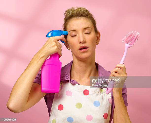 suicide with cleaning equipment - hausfrau stock-fotos und bilder