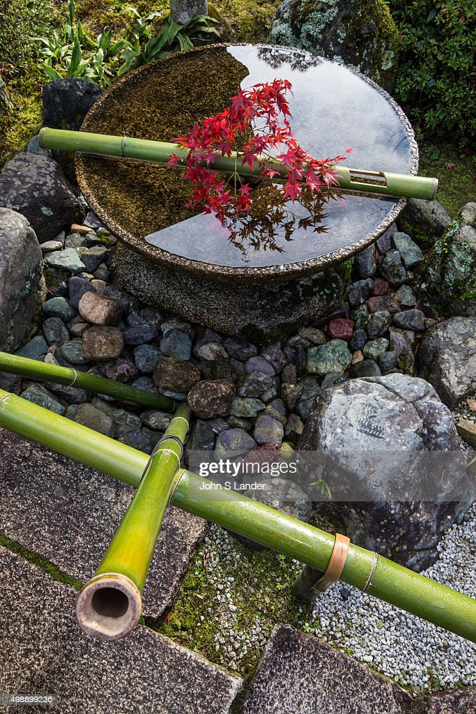Suikinkutsu or Japanese water harp produces sounds of echoes ...