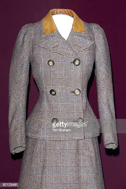 A suit is on display at the 'Style and Splendour Queen Maud of Norway's Wardrobe 18961938' exhibition at the Victoria and Albert Museum marks100th...