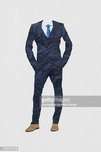 suit made of crumpled paper - male likeness stock pictures, royalty-free photos & images
