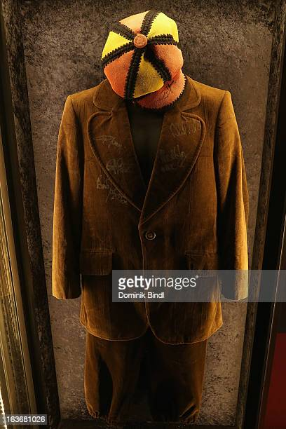 Suit of Angus Young of AC/DC at the opening of the exhibition Hard Rock Couture Music Inspired Fashion at the Hard Rock Cafe on March 14 2013 in...
