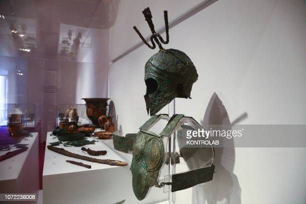 SCAVI POMPEI CAMPANIA ITALY A suit of armour exhibited in the exhibition Pompeii and the Etruscan about the cultural melting pot in the ancient Roman...