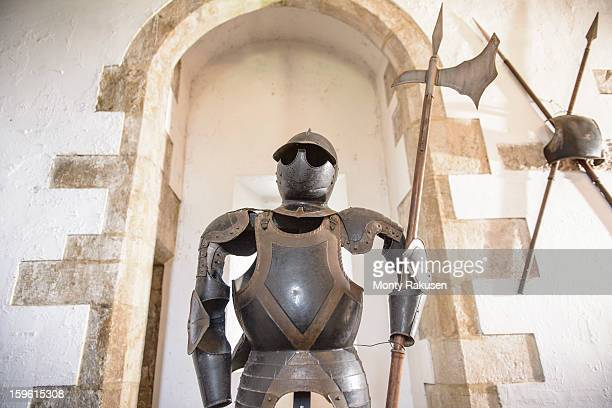 Suit of armour in Bolton Castle, a 14th century Grade 1 listed building, Scheduled Ancient Monument