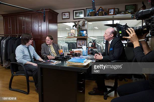 THE OFFICE Suit Warehouse Episode 912 Pictured Clark Duke as Clark Rainn Wilson as Dwight Schrute Ed Lauter as Mr Stone