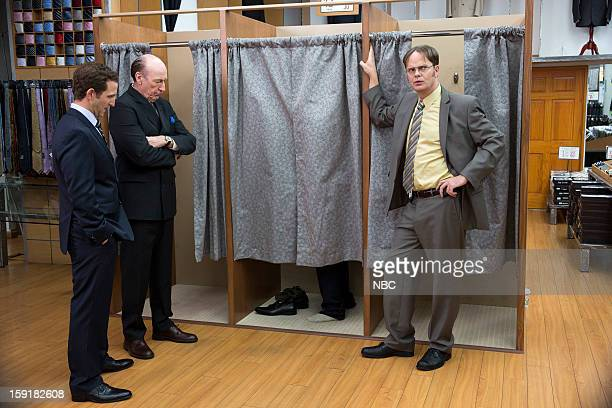 THE OFFICE Suit Warehouse Episode 912 Pictured Will Greenberg as Sam Jr Ed Lauter as Mr Stone Rainn Wilson as Dwight Schrute