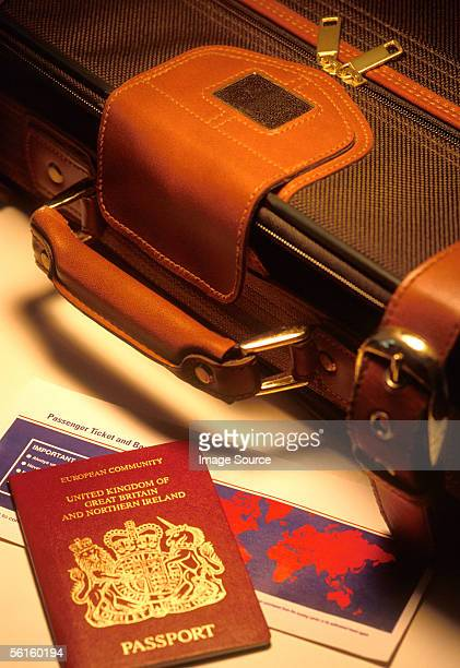 Suitcase and travel documents