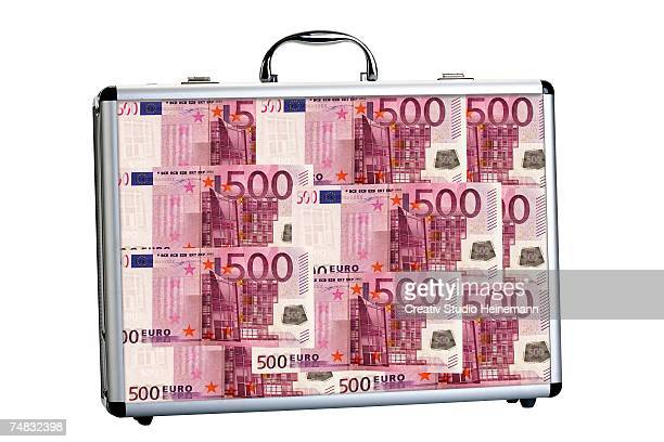 Suitcase filled with 500 Euro banknotes, close-up