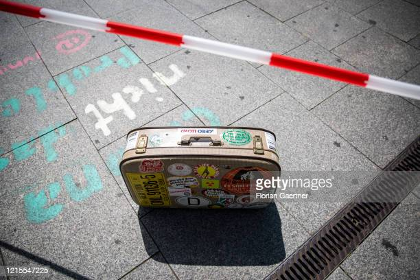 Suitcase is pictured as part of a demonstration against the travel restrictions because of corona virus on May 27, 2020 in Berlin, Germany.