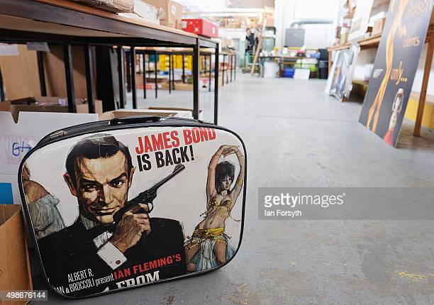 Suitcase showing actor Sean Connery stands amongst other items during a James Bond memorabilia auction on November 25, 2015 in Stockton-on-Tees,...