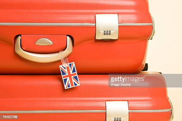 Suitcase with british flag tag