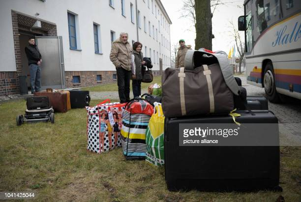 Suitcases outside of the Oderland Barracks in Frankfurt OderGermany 18December 2013 32 refugee from Syria and Iraq are being housed at the Oderland...