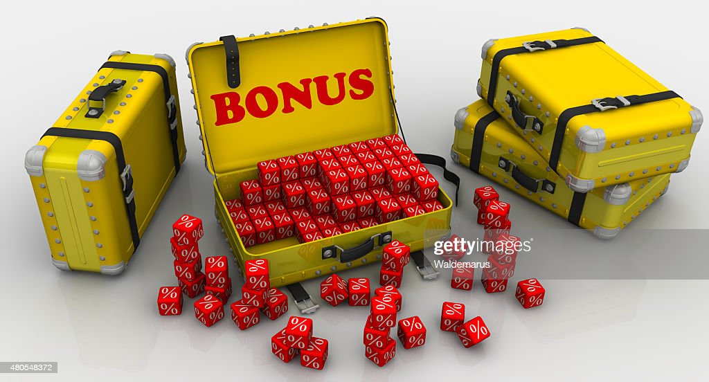 Suitcases with bonuses. Financial concept : Stock Photo