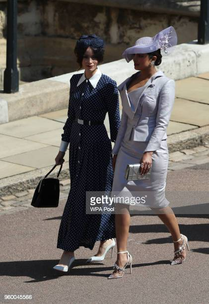 Suits actress Abigail Leigh Spencer and Bollywood actress Priyanka Chopra arrive for the wedding ceremony of Britain's Prince Harry and US actress...