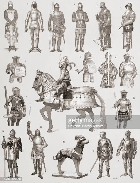 Suits of armour 14th century 1 Spanish 2 Full French suit 3 French with a chain mail shirt 4 English 5 Crossbowman's suit 6 Crossbowman's suit with...