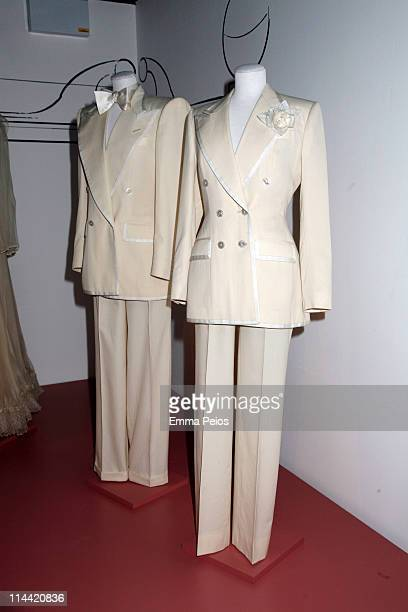 Suits worn by Mick Jagger and Bianca Jagger for their wedding are displayed during the Private View for the Tommy Nutter 'Rebel On The Row'...